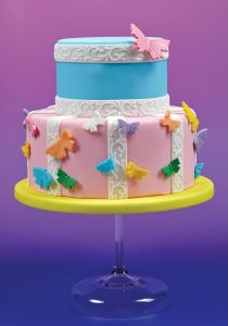 sugarpaste ribbon cake with butterflies